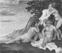 badende (landschaft mit drei weiblichen akten) by hans olde