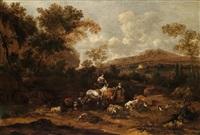südliche landschaft mit hirten und einer viehherde, igniert unten rechts: jvbent f by johannes van der bent