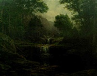 mountain landscape with waterfall and log cabin in middle distance by george hetzel