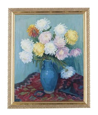 chrysanthemums in a blue vase by elena abramyan