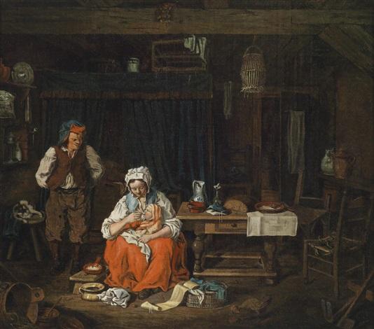 bäuerliches interieur mit einer stillenden jungen mutter by pierre alexandre wille