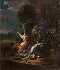 hunting still life with heron and hare by adriaen de gryef