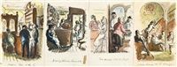 four illustrations of pub interiors by edward ardizzone