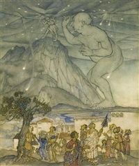 hercules gave a great shrug of his shoulders. it being now twilight, you might have seen two or three stars tumble out of their places by arthur rackham