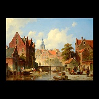 dutch canal scene by jacques françois carabain