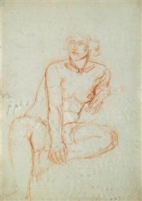nu féminin assis, tenant de la main droite sa jambe gauche repliée by charles despiau