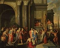 le roi priame reçoit paris et hélène à sa cour à troie (collab. w/studio) by gerard hoet the elder