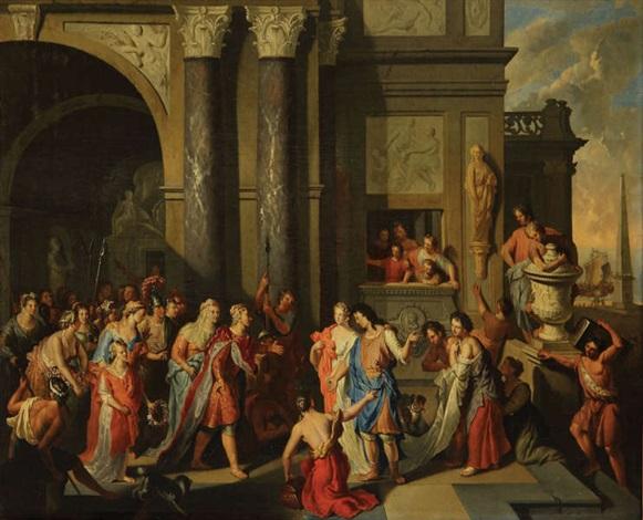 le roi priame reçoit paris et hélène à sa cour à troie collab wstudio by gerard hoet the elder