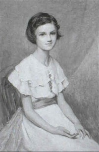 portrait of young girl in a pink sash by p(ercy) harland fisher