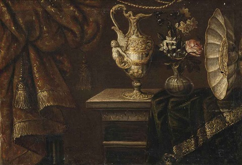 a rose narcissi and morning glory in a glass vase with a sculptured ewer and a salver on a partially draped table by francesco fieravino il maltese