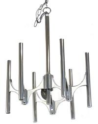 26360 coppia di lampadari a sei luci a finitura argento (pair) by sciolari (co.)