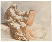 a prophet seated on a rock by johann heinrich lips