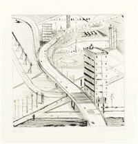 freeway building by wayne thiebaud