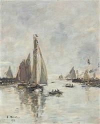 trouville. rentrée des barques de pêche by eugène boudin