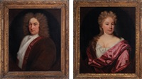 portrait of a gentleman wearing a red velvet jacket (+ portrait of a lady wearing a damask colored silk robe; 2 works) by andrea soldi