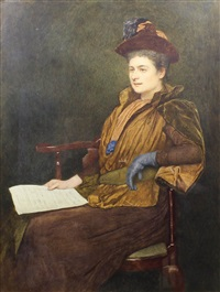 full length seated portrait of clara butt by james dromgole linton