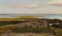 coastal landscape with pastures and farmland by william corning stacy