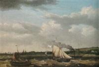 marin med ångbåt och segelfartyg by thomas a. binks