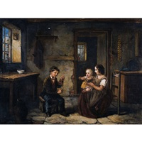 interieur mit mutter und kind by johann peter hasenclever