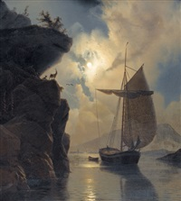 boot im felsigen fjord bei mondschein by knud andreassen baade