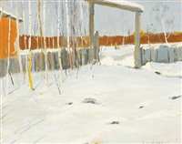 russian winter with figures in distant background by wladimir g. krikhatzkij