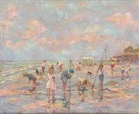 enfants jouant à la plage by albert rigaux