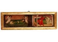 zwei heiligendarstellungen: links ein am boden liegender heiliger bischof oder priester in grünem messgewand, aus dessen mund eine lilie emporsteigt, als attribut des heiligen und symbol der reinheit. der heilige flankiert von zwei schwebenden engeln by anonymous-italian (15)