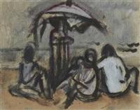 am strand unter einem sonnenschirm sitzende gruppe by carl ernst (karli sohn) sohn-rethel