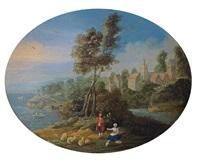 küstenlandschaft mit einem schäferpaar by jan frans van bredael the elder