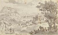 a goatherd on a path, a mountain landscape beyond (+ an extensive landscape with a buttressed castle; 2 works) by josua de grave