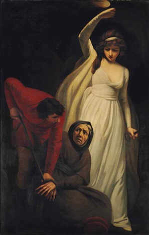 gil blas binding dame leonarda with cords in the cavern of the banditti by john opie