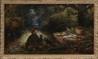 fisherman resting on a river bank by henry leonidas rolfe, joseph adam and alfred corbould