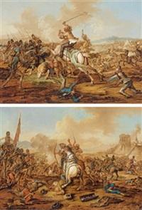 gefecht zwischen christlicher infanterie und türkischer reiterei (pair) by johann lorenz rugendas the younger