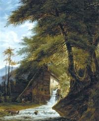 watermolen aan de rand van het bos by henri van moer