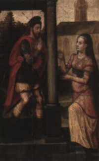 two figures by a church (joachim and anne?) by lucas de heere