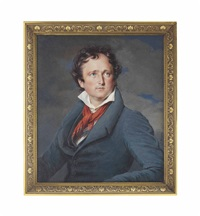 a young gentleman, in blue coat and waistcoat, white shirt, red scarf knotted around his neck, curling receding dark hair; stormy sky background by jean urbain guerin
