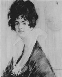 portrait de femme dans un intérieur by maurice jean micha