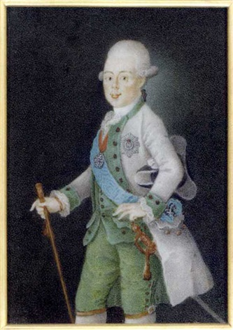 grand duke paul petrovich of russia tsar of russia as paul i holding a baton in his right hand in grey coat green waistcoat and trousers frilled cravat holding a black and grey tricorn hat by anton friedrich könig