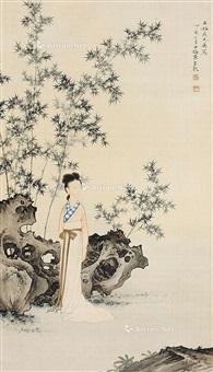 仕女 立轴 绢本 by chen shaomei
