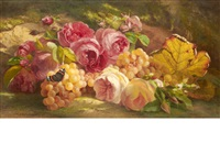 roses and grapes against a grassy bank by theude grönland
