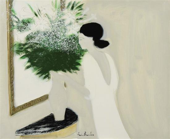 jeune femme au bouquet blanc by andré brasilier