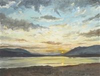 mountains and lake by sun rise by claude davidson