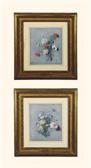 nature morte aux pivoines et nature morte aux coquelicots et oeillets (2 works) by alexis nicolas perignon the elder