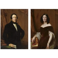 a portrait of jonkheer johan carel willem fabricius, heer van leyenburg, loenen, en wolferen (+ a portrait of his wife, adriana wilhelmina clara hooft; pair) by jan adam janszoon kruseman