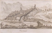 view of terracina, with the monastery of sant'angelo to the right by francesco zucchi the younger