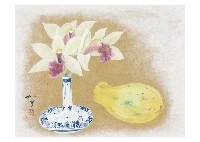 still life (orchid and papaya) by kazuko gokura