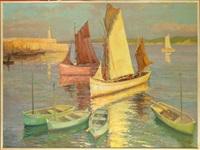 port de honfleur animé (+ port breton, verso) by fernand lienaux