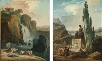 the 'fountain of liberty'; artists sketching at tivoli (pair) by hubert robert