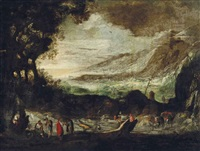 an extensive rocky landscape with travellers conversing by joos de momper the younger