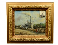 steamboat natchez along the docks with stevedores by e.e. cummings